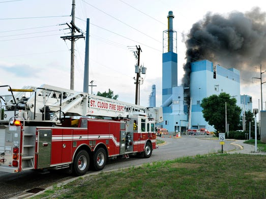Area firefighters responded to a fire in the former Verso Paper plant in Sartell Wednesday. The building is being demolished after an explosion and fire at the facility in 2012.