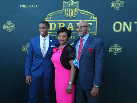 Byron Jones (Connecticut) arrives on the gold carpet before the first round of the 2015 NFL Draft at the Auditorium Theatre of Roosevelt University.