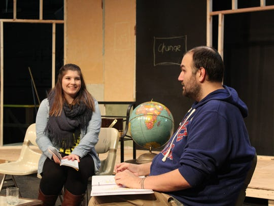 Actors rehearse a scene from Cumberland Players' production