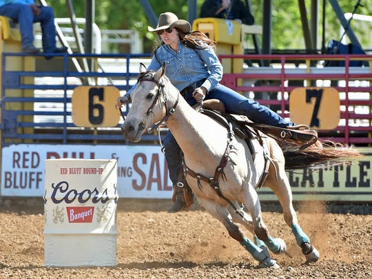 After the first round of barrel racing competition at the Red Bluff Round-Up, Jessi Fish split a first-place finish with a time of 17.23 seconds.