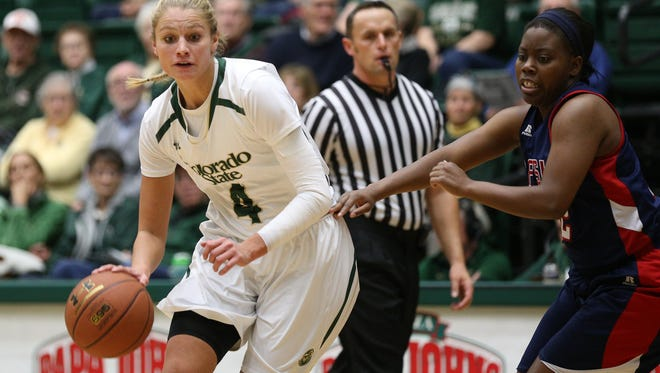 CSU's Emilie Hesseldal, shown in a game earlier this season, had two late baskets to help the Rams win at San Jose State on Wednesday.