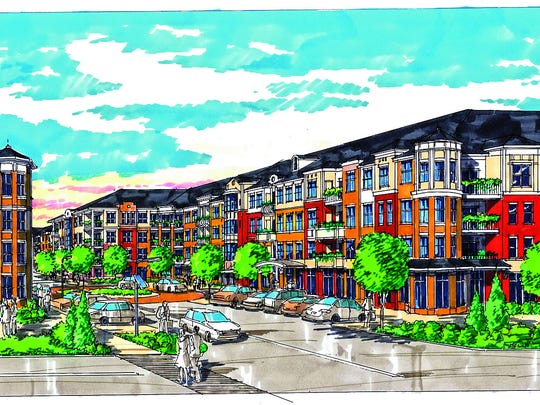 An artist's rendering of a potential luxury residential and retail development at the site of the former Muhlenberg Regional Medical Center in Plainfield, as envisioned by a study commissioned by JFK Health System.