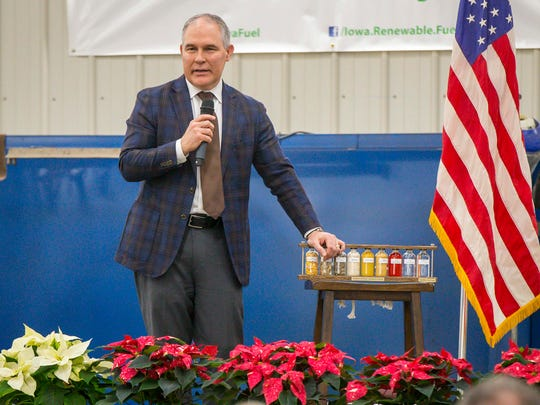 EPA Administrator Scott Pruitt speaks with farmers, energy officials and ethanol and biodiesel producers in Nevada, Iowa, Friday , Dec. 1, 2017, at the farm of  Bill Couser.