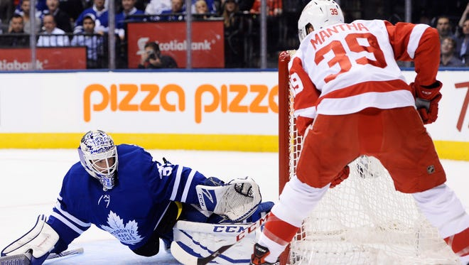 Anthony Mantha finished a minus-3 in the Red Wings' 6-3 loss to the Maple Leafs Wednesday.