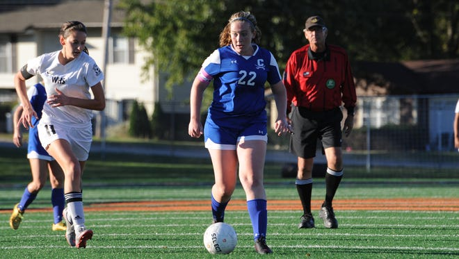 Chillicothe's Chelsea Crabtree tries to find open space against Wilmington Thursday night. With a 0-0 tie, Crabtree and the Cavaliers won a second consecutive outright SCOL title.