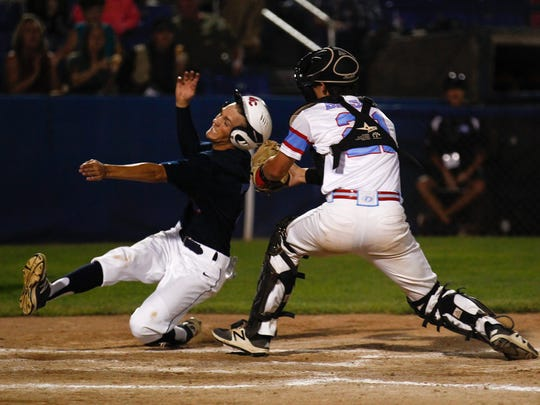 D-BAT Elite catcher Nic Balsano tags out 4-Corners ClubSox's Deylan Pigford at home plate during Game 5 of the Connie Mack World Series on Wednesday at Ricketts Park in Farmington.