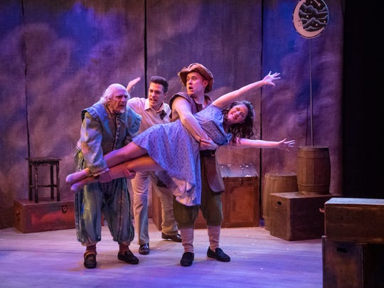 "Jane Flieller called ""The Fantasticks"" one of her most satisfying In Tandem Theatre productions. This scene features Robert Spencer (left), Keegan Siebken, Austin Dorman and Susan Wiedmeyer."