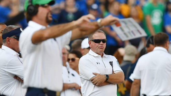 Notre Dame Fighting Irish head coach Brian Kelly reacts on the sideline in the second quarter against the Duke Blue Devils at Notre Dame Stadium.