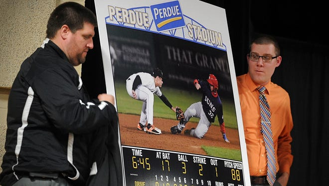 Andrew Bryda and Eric Sichau unveil a rendering of the Shorebirds' new video board.