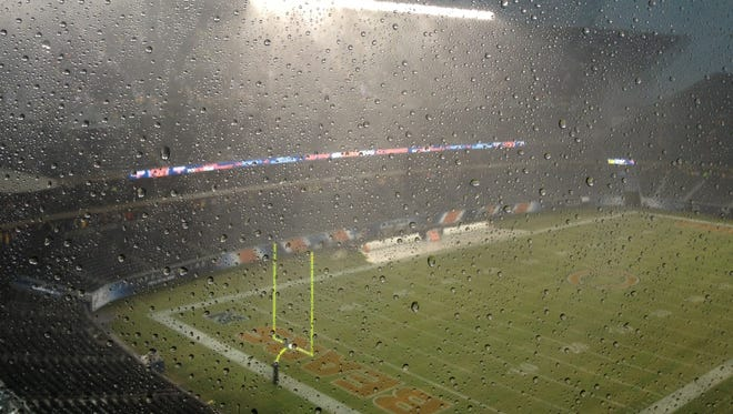 Severe weather threatened Chicago's Soldier Field on Sunday.