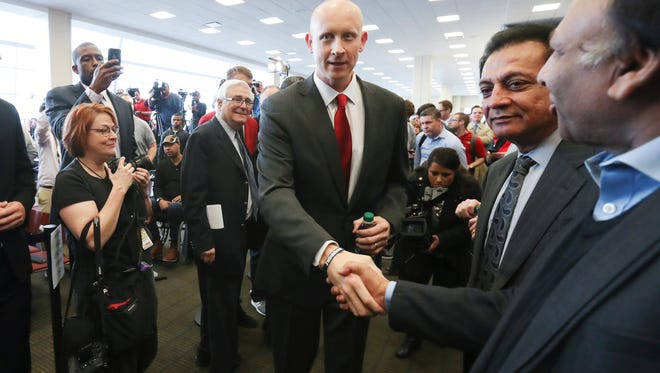 New Louisville basketball head coach Chris Mack greeted fans just before he we was announced as coach at the Yum Center.     Mar. 28, 2018
