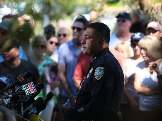 Palm Springs Police Chief Bryan Reyes speaks at a press
