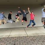 Mr. Stayton High School Pageant contestants, from left, Christian Bonson, Toren Ikea-Mario,  Ben Diehl, Charlie Weeks, Ryan Forrette, Taren Ikea-Mario.