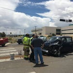 Police investigate a two-vehicle crash on Monday afternoon at Piñon Hills and College boulevards in Farmington.