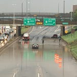 Flooding at I-94 near the Lodge exits on Sept. 29, 2016.