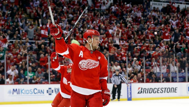 The Red Wings' Justin Abdelkader celebrates his goal against the Colorado Avalanche in the second period Saturday, March 18, 2017 at Joe Louis Arena.