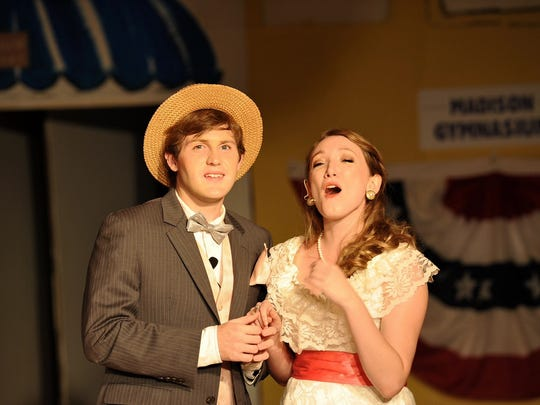 "Brady Walker and Sarah Missildine in a scene from ""The Music Man.""  The Millbrook Community Players will present ""The Music Man"" at the Millbrook Theatre on July 20-23 and July 27-30."