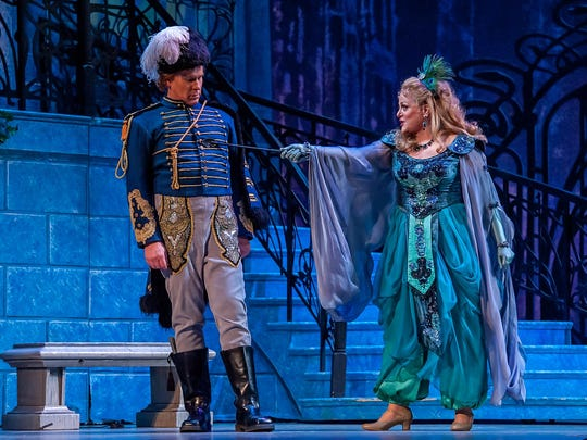 "Deborah Voigt and Roger Honeywell in Michigan Opera Theatre's production of ""The Merry Widow"" in 2015."