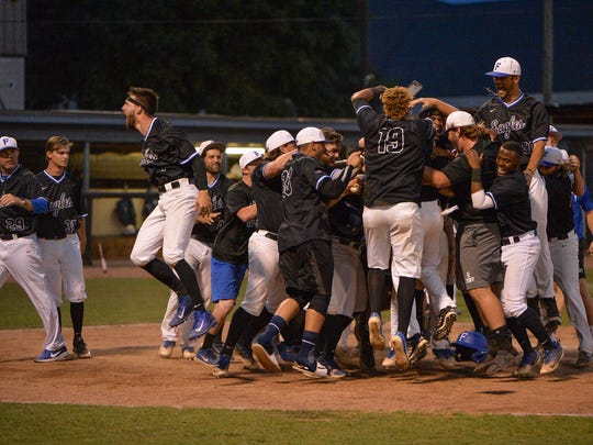 Faulkner celebrates Gage West's walk-off home run against Indiana Tech in the NAIA playoffs on May 16, 2018.
