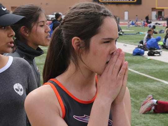 Eastlake's Haley Black and teammates watch the competition