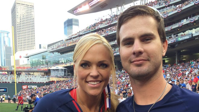 Reds outfield prospect Jesse Winker made the most of his time at the Futures Game, doubling, scoring a run and scoring pictures with participants in the Celebrity Softball Game, including former USA softball pitcher Jennie Finch.