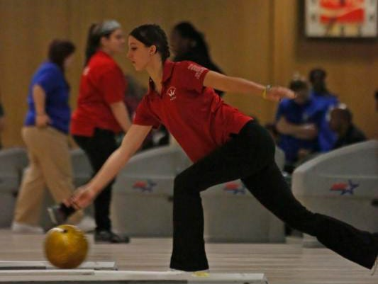 North Rockland's Nicole Talamini bowls at the Section 1 girls bowling tournament at Fishkill Bowl on Feb. 10, 2014.