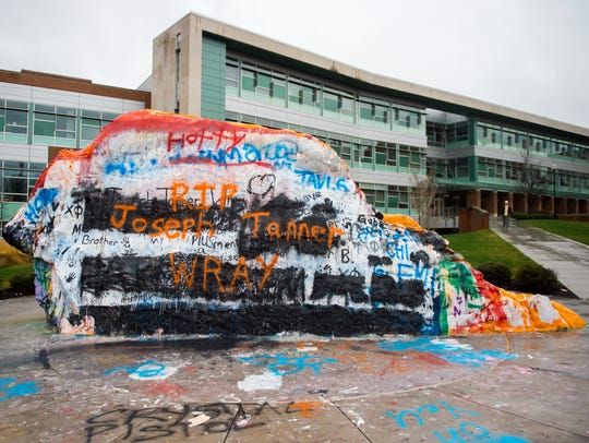 """""""RIP Joseph Tanner Wray"""" is painted on The Rock on"""