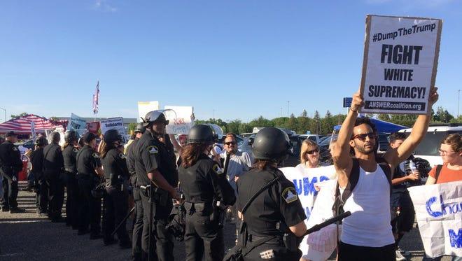 Donald Trump protesters in Sacramento on June 1, 2016.
