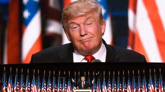 Donald Trump speaks during the 2016 Republican National