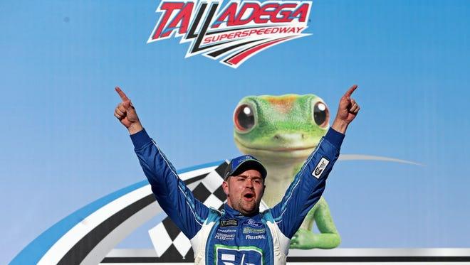 Ricky Stenhouse Jr. (17) celebrates winning the GEICO 500 at Talladega Superspeedway.
