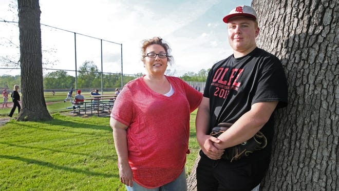 Kristin Kowalke and her son Jordyn Kowalke, 17, before his baseball game in Pewaukee.