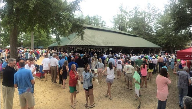 A crowd gathers at a previous Neshoba County Fair.