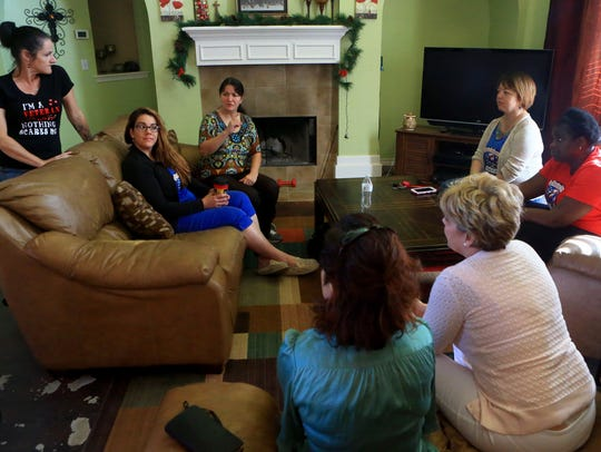 Members of Women Veterans of the Coastal Bend talk