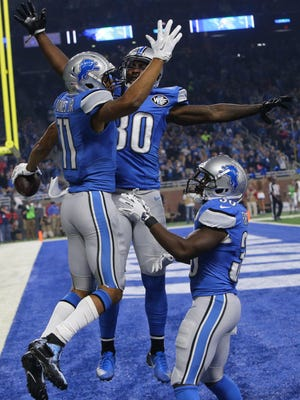 Detroit Lions WR Marvin Jones Jr. celebrates his touchdown catch against the Los Angeles Rams on Sunday, Oct. 16, 2016 at Ford Field in Detroit.