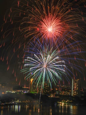 A fireworks display lights up the sky over Tumon Bay as Guam celebrates the start of the new year on Jan. 1.