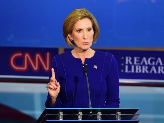Carly Fiorina speaks during the Republican presidential debate at the Ronald Reagan Presidential Library in Simi Valley, Calif., on Sept. 16, 2015.