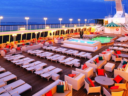 The pool area on a Crystal cruise ship.