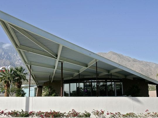The Palm Springs Visitors Center, 2901 N.  Palm Canyon Drive is a popular place for film and photo shoots.