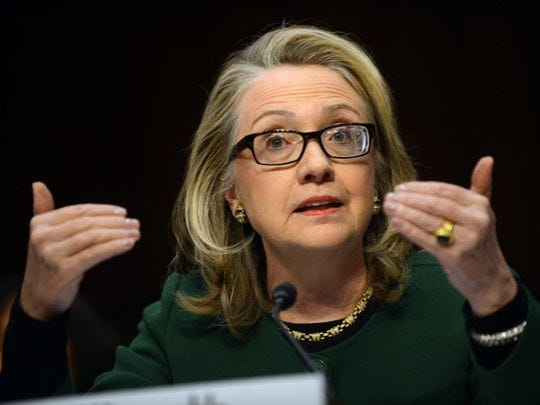 Then-secretary of State Hillary Clinton testifies on Jan. 23, 2013, before the Senate Foreign Relations Committee about the Benghazi attack.