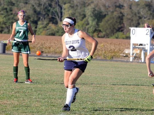 Jerri Lankford (2) juggles a ball on her field hockey stick during Holly Grove Christian School's 2-0 Eastern Shore Independent Athletic Conference playoff win versus Gunston Day School on Wednesday, Oct. 21, 2015.