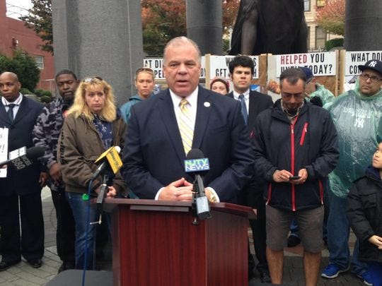 Senate President Stephen Sweeney, D-Gloucester, criticizes New Jersey's recovery programs after superstorm Sandy at a demonstration across from the Statehouse in Trenton, N.J., on Wednesday, Oct. 28, 2015.