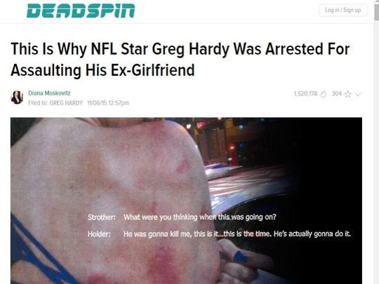 A screengrab of Deadspin's article about Greg Hardy and his arrest for assault.