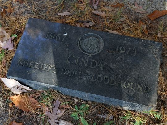 The oldest marked grave in the Ocean County K-9 cemetery is for Cindy and dated 1973.