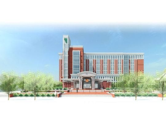 This is a rendering of what the proposed Rutherford County Judicial Center is supposed to look like on the north side of Lytle Street a couple of blocks north of the Square in Murfreesboro.