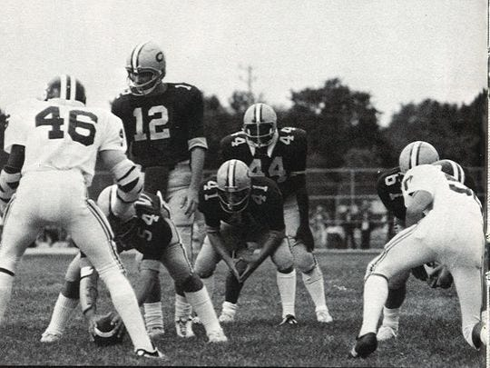 Halfback Lonnie Burgess (44) lines up in the Red Bank Catholic backfield during the 1976 season, with the Caseys winning the Non-Public South A state title.