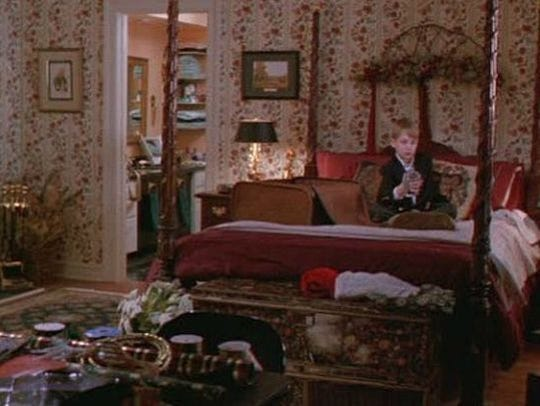 Kevin McCallister inside the master bedroom.