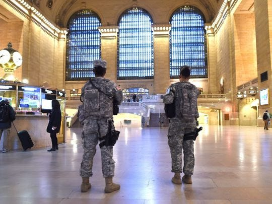 National Guard troops patrol Grand Central Station