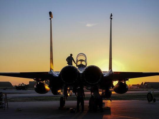 U.S. Air Force F-15E Strike Eagle sits after landing on Nov. 12, 2015, at Incirlik Air Base, Turkey.