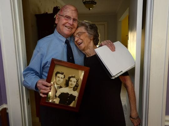 Charles and Frances Hamlin stayed at the Pointsett Hotel on their honeymoon 68 years ago for $8 and have kept their original bill. For their anniversary, the couple will be staying at the hotel again.