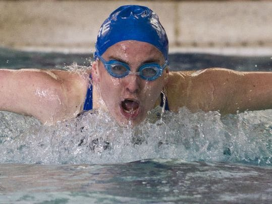 Helen Grossman of Shore Regional wins the 100 yard butterfly. The 37th annual Shore Conference Tournament girls swim championships takes place at the Ocean County YMCA. Toms River, NJ Saturday, January 31, 2015